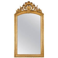 French Louis Philippe Silver Leaf Mirror 19th Century For
