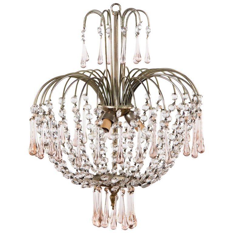 Vintage Murano Pink Teardrop and Crystal Chandelier, 1950s 1 - Vintage Murano Pink Teardrop And Crystal Chandelier, 1950s For