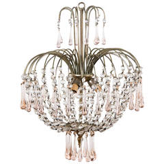 Vintage Murano Pink Teardrop and Crystal Chandelier, 1950s