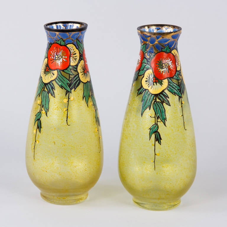 pair of deco enameled glass vases by becken and richie 1930s for sale at 1stdibs