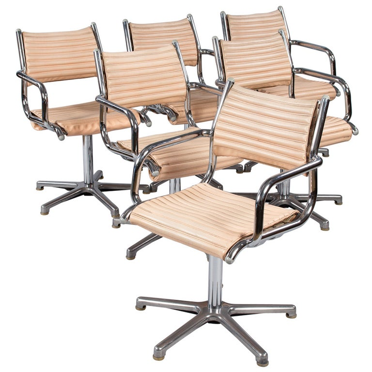 Set of Six Vintage Chrome Armchairs by Olymp, Germany 1970s For Sale