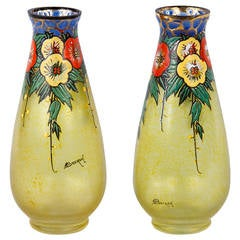 Pair of French Art Deco Enameled Glass Vases by Becken and Richie, 1930s