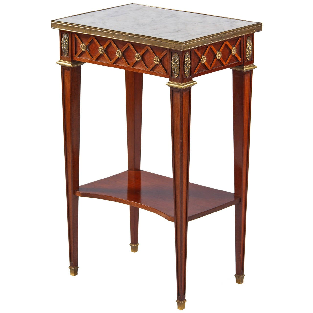french louis xvi style mahogany side table with marble top. Black Bedroom Furniture Sets. Home Design Ideas