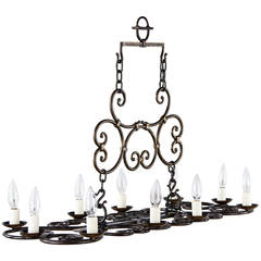 French Forged Iron Chandelier by Michel Zadounaisky