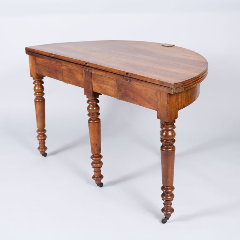 french louis philippe demi lune walnut table 1830s at 1stdibs. Black Bedroom Furniture Sets. Home Design Ideas