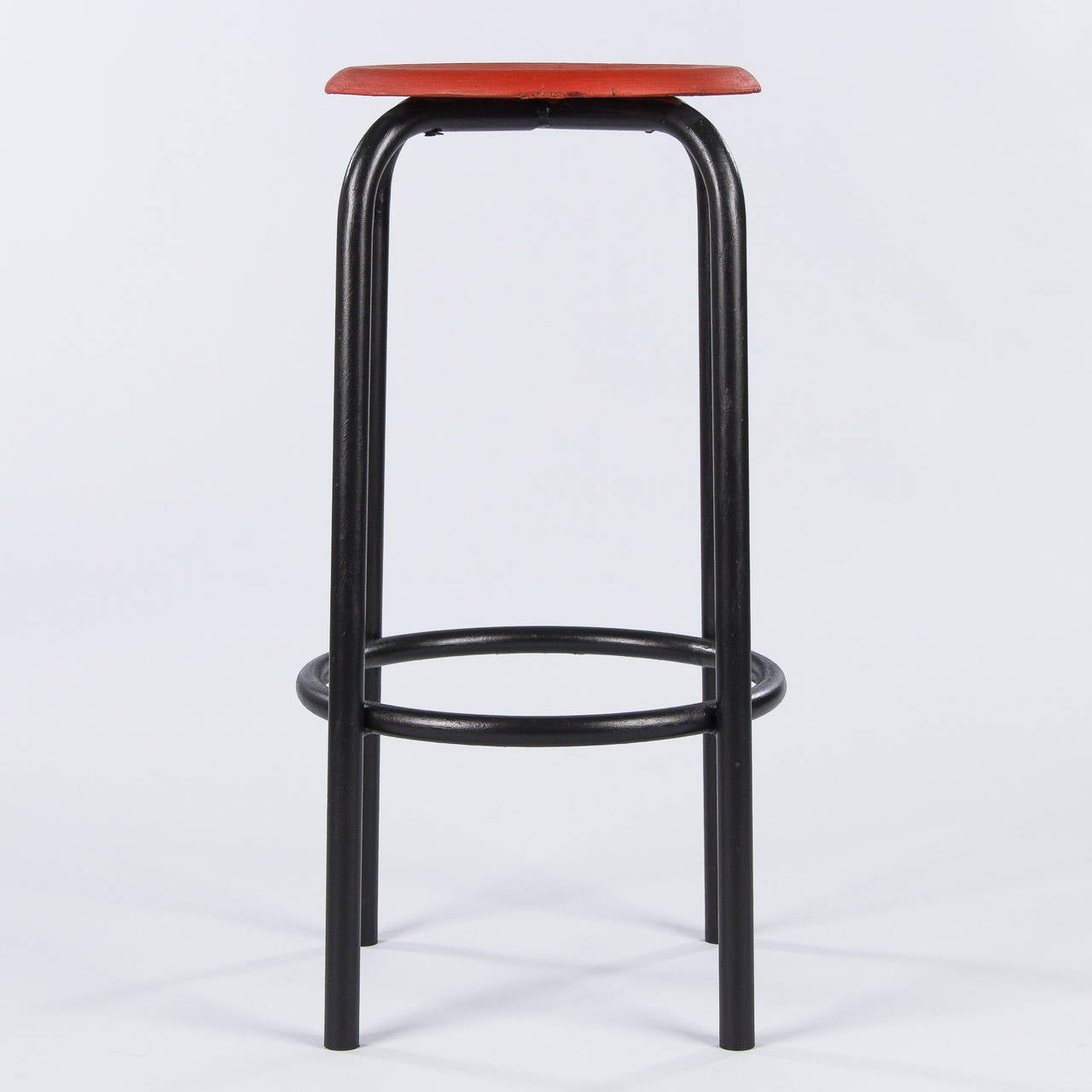French Vintage Industrial Red and Black Stool, 1950s 4