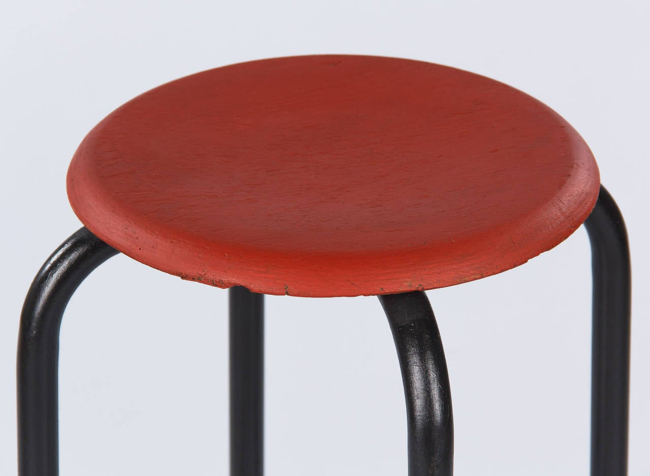 Painted French Vintage Industrial Red and Black Stool, 1950s
