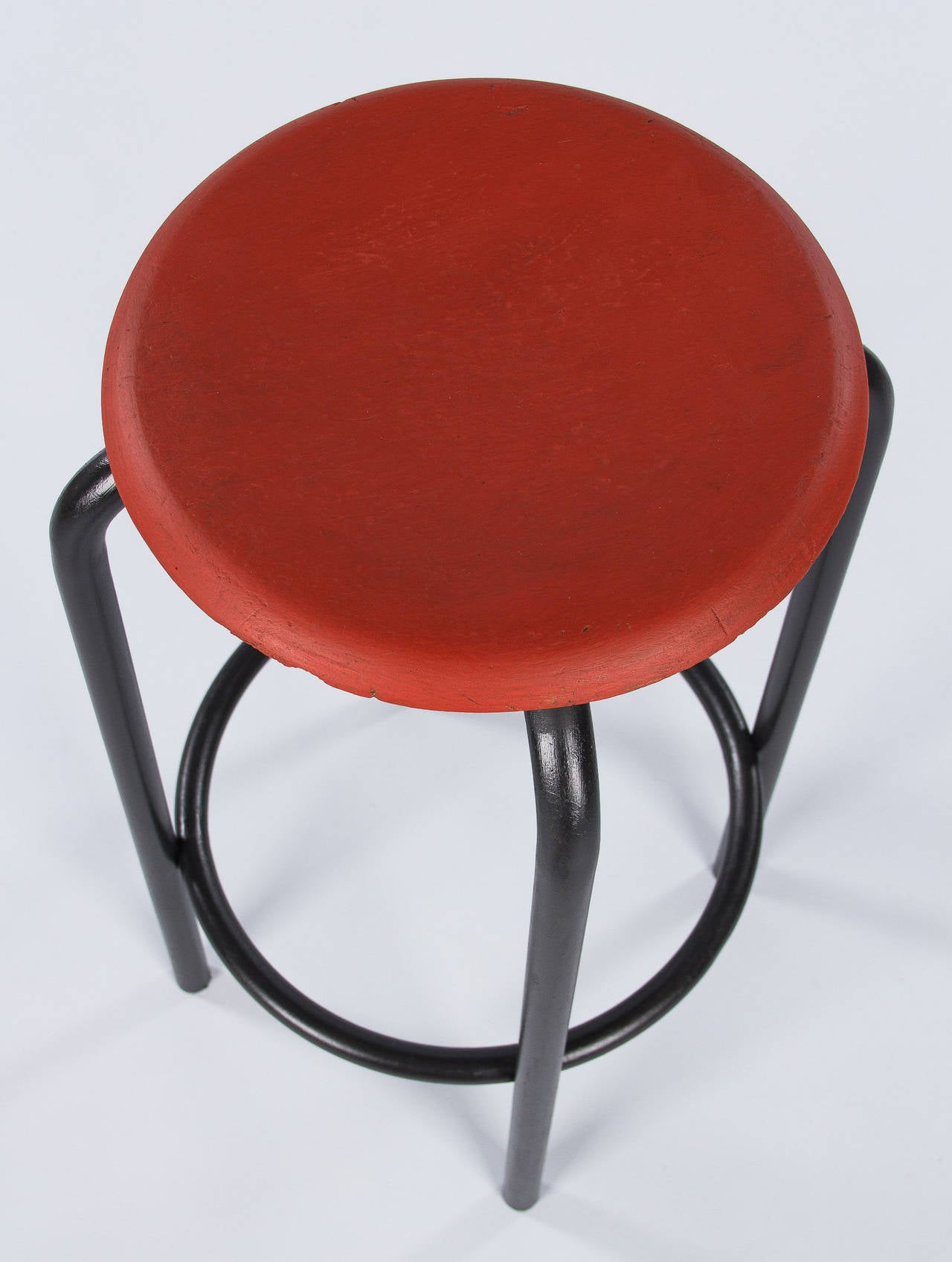 French Vintage Industrial Red and Black Stool, 1950s In Good Condition In Austin, TX