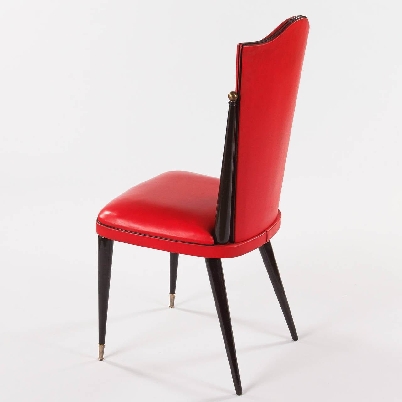 Pair Of Vintage French Red Vinyl Side Chairs 1960s For