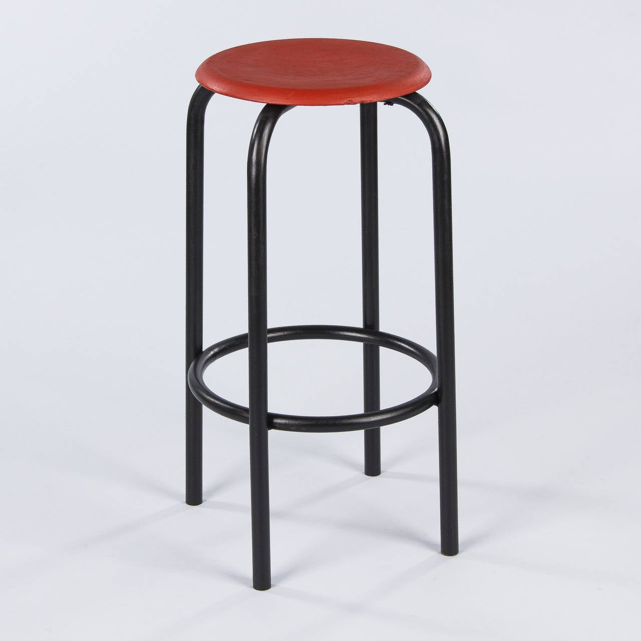 20th Century French Vintage Industrial Red and Black Stool, 1950s