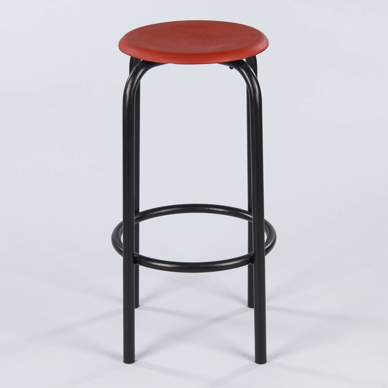 Metal French Vintage Industrial Red and Black Stool, 1950s