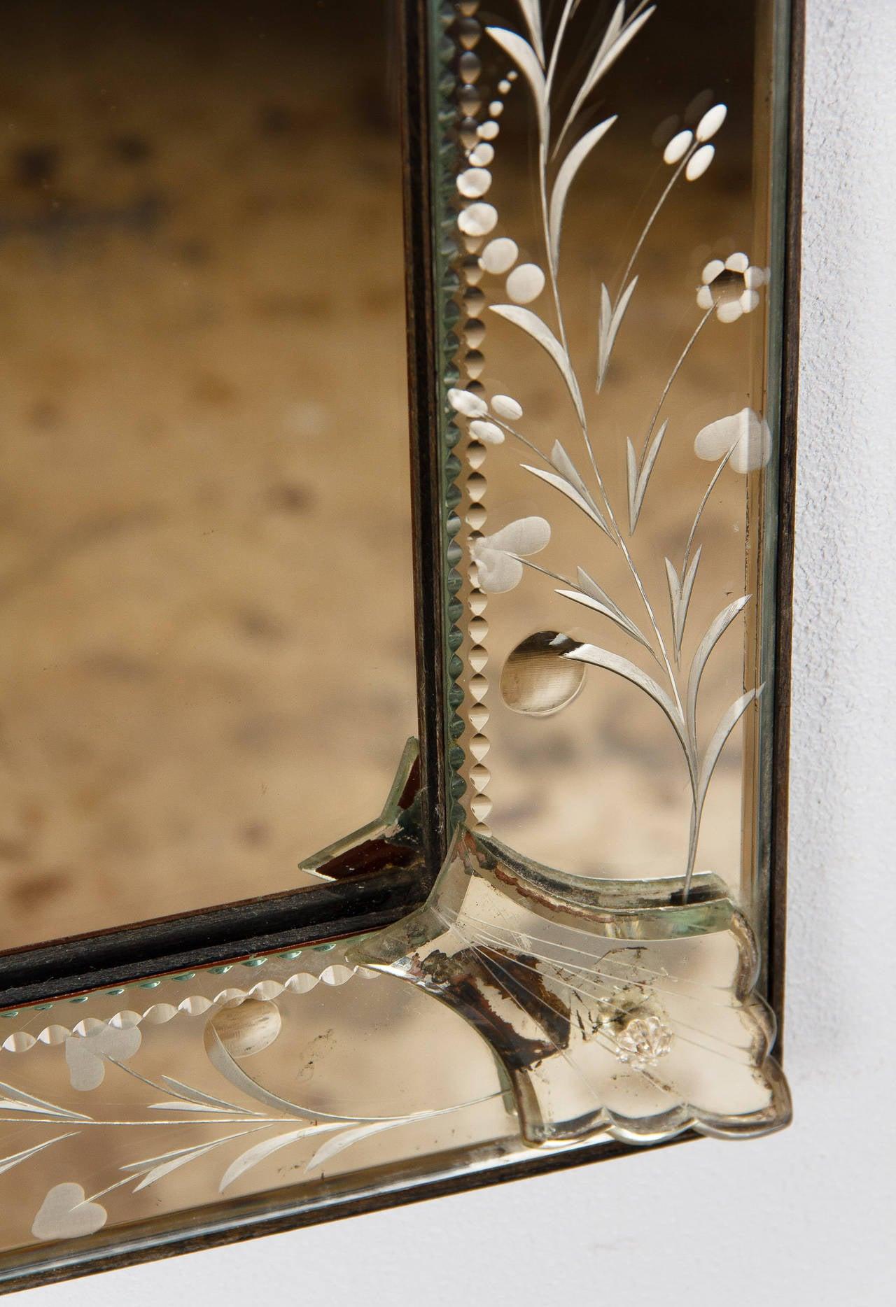 Mid Century Venetian Glass Mirror At 1stdibs
