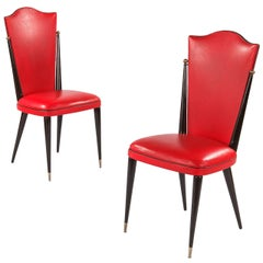 Pair of Vintage French Red Vinyl Side Chairs, 1960s