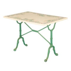 French Bistro Table with Hand Painted Tile Top