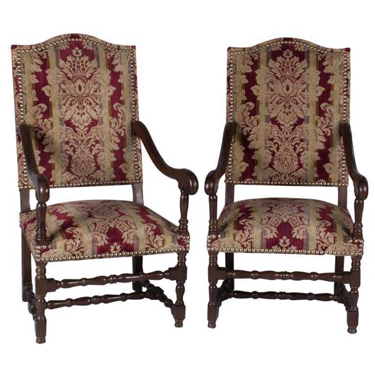 A Pair Of Period French Chairs With Missoni Fabric At 1stdibs: Pair Of French Louis XIII Style Armchairs, Circa 1920s At