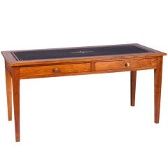 French Louis XVI Style Cherrywood Desk with Leather Top, circa 1900s