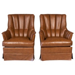 Pair of Mid Century Leather Armchairs from Spain