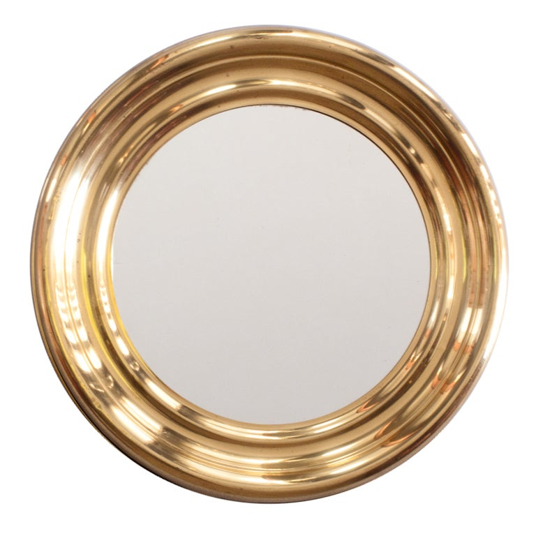 French Vintage Round Brass Mirror At 1stdibs