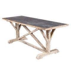 French Painted Trestle Table with Zinc Top