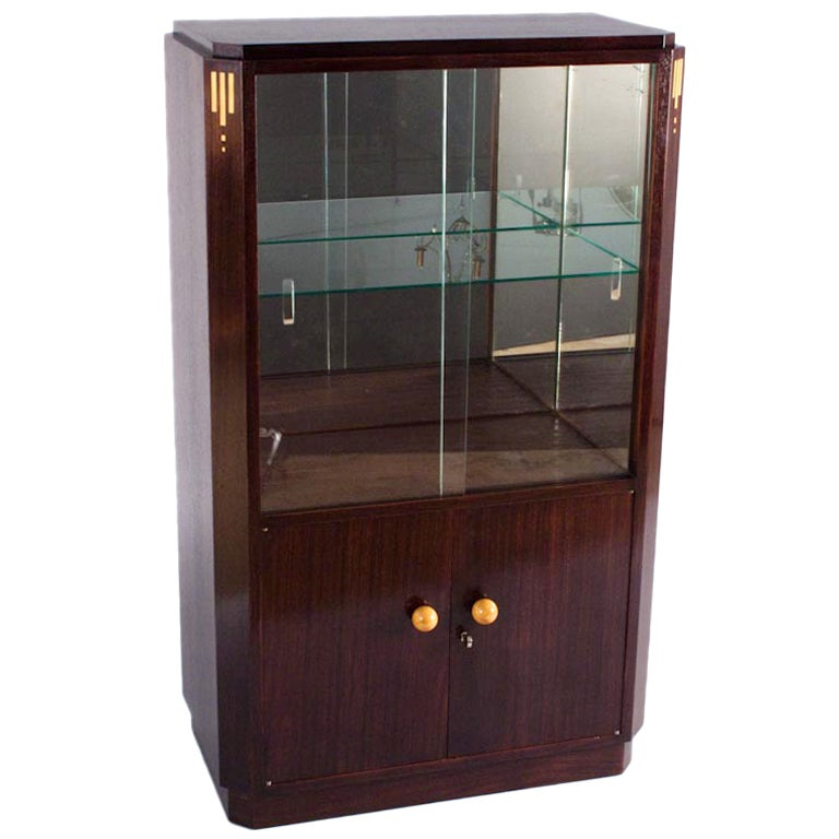 1930s french art deco rosewood bar or vitrine cabinet at for Decoration vitrine