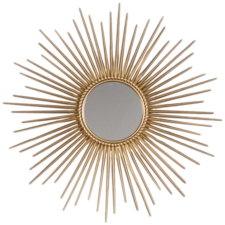 French mid century sunburst mirror at 1stdibs for Miroir soleil metal
