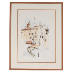 French Watercolor with Sailboat by Dedic