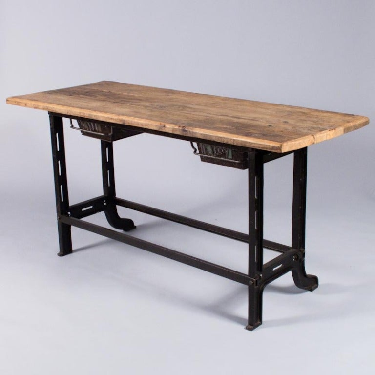 Midcentury French Industrial Table or Desk 10