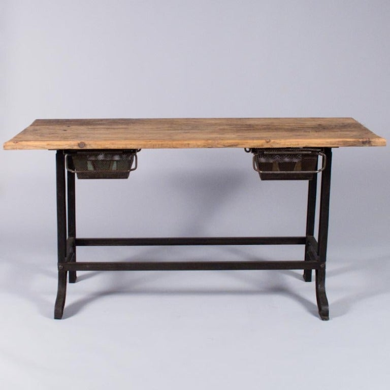 Midcentury French Industrial Table or Desk 2