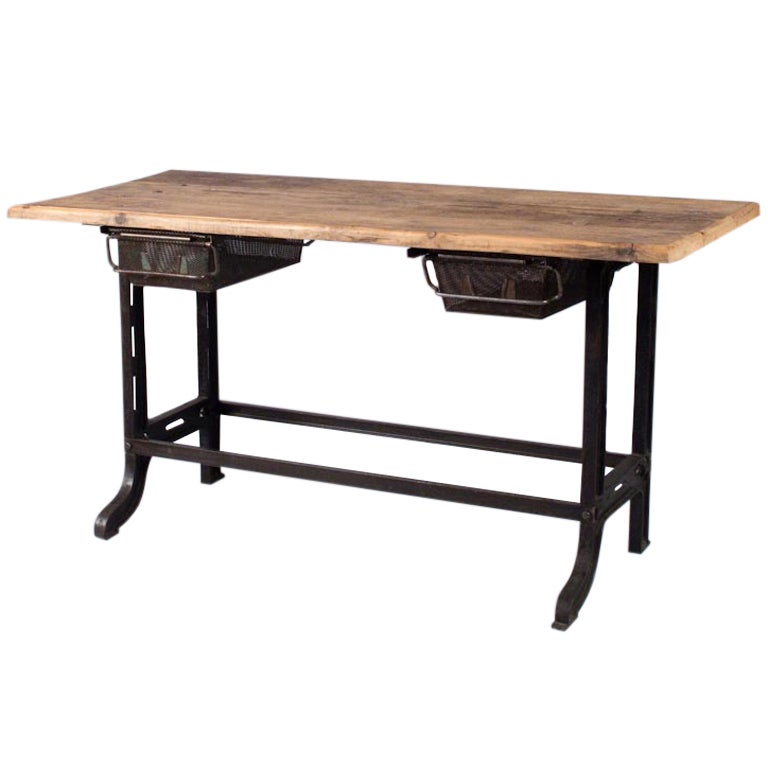 Midcentury French Industrial Table or Desk 1