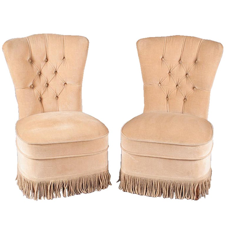 Pair of French Boudoir Chairs at 1stdibs