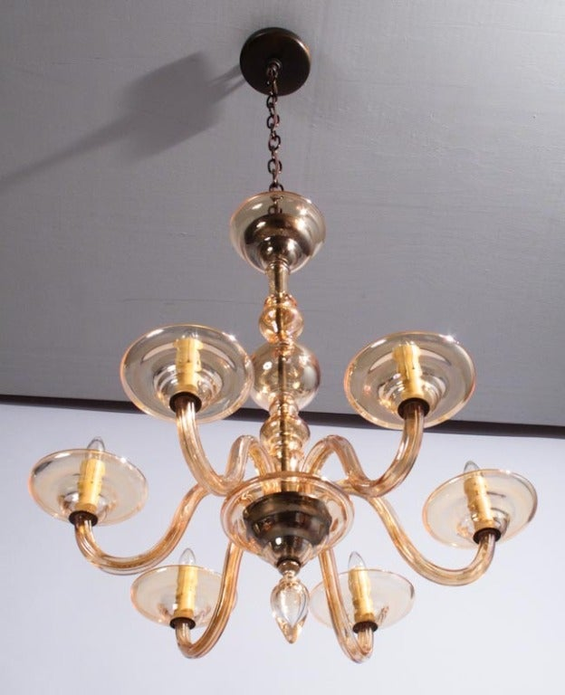Mid-20th Century 1940s Italian Amber Glass Murano Chandelier For Sale