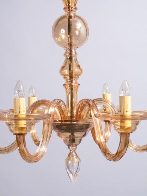 1940s Italian Amber Glass Murano Chandelier For Sale 1