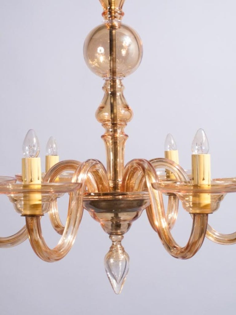 1940s Italian Amber Glass Murano Chandelier For Sale 2