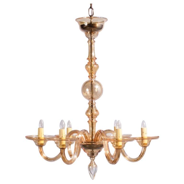 1940s Italian Amber Glass Murano Chandelier For Sale