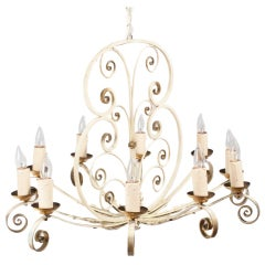 1940's Painted Metal Chandelier