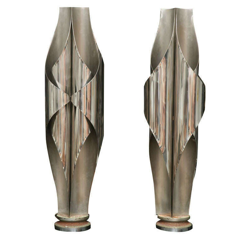 Rare Pair of Stainless Steel Sculptural Lamps by Louis Durot
