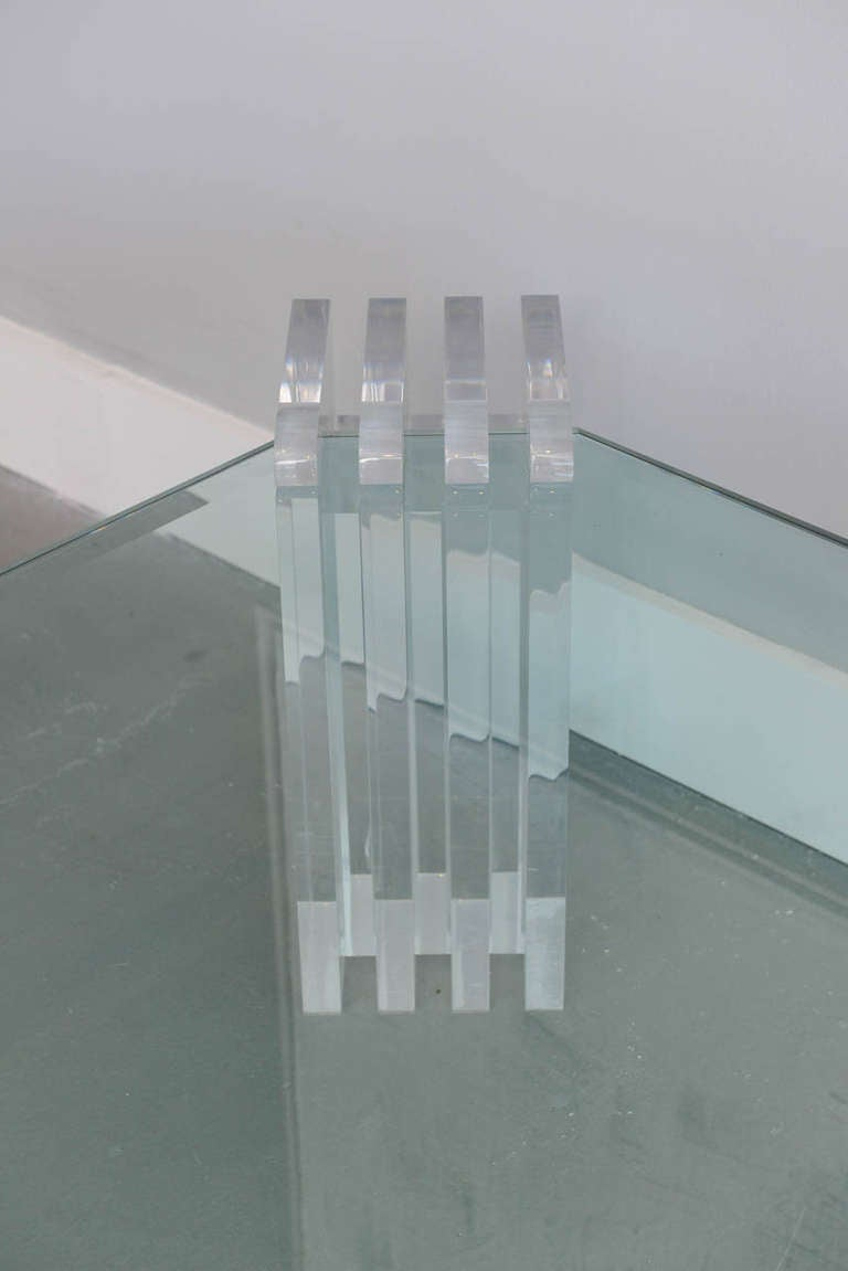 American A Lucite and Glass Low Table, Charles Hollis Jones