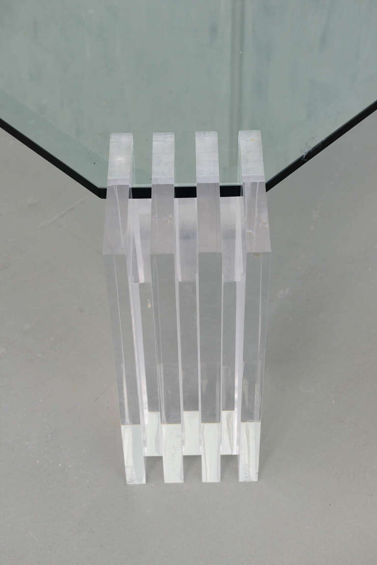 A Lucite and Glass Low Table, Charles Hollis Jones In Excellent Condition In Hollywood, FL