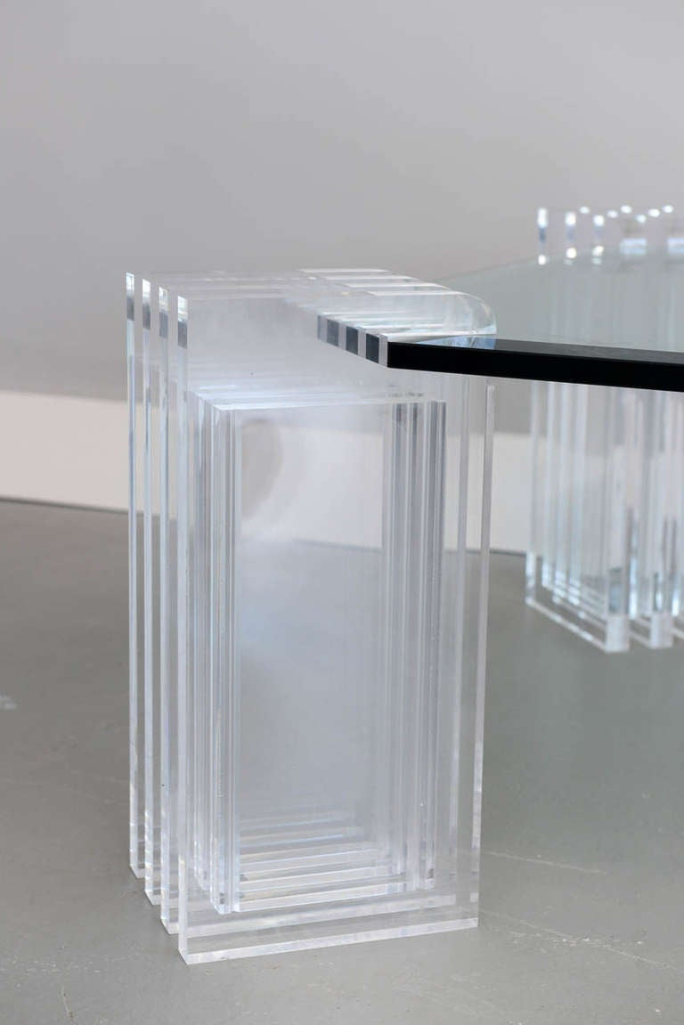 Late 20th Century A Lucite and Glass Low Table, Charles Hollis Jones