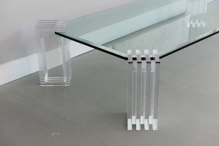 A Lucite and Glass Low Table, Charles Hollis Jones 3