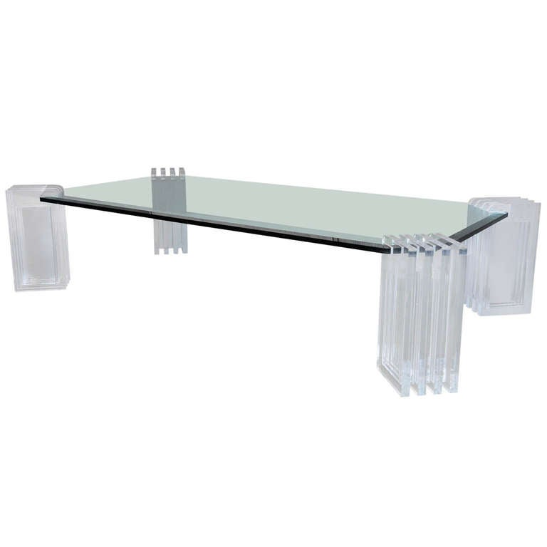 A Lucite and Glass Low Table, Charles Hollis Jones