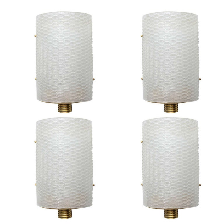 Set of Four Italian Modern Barovier and Toso Wall Lights