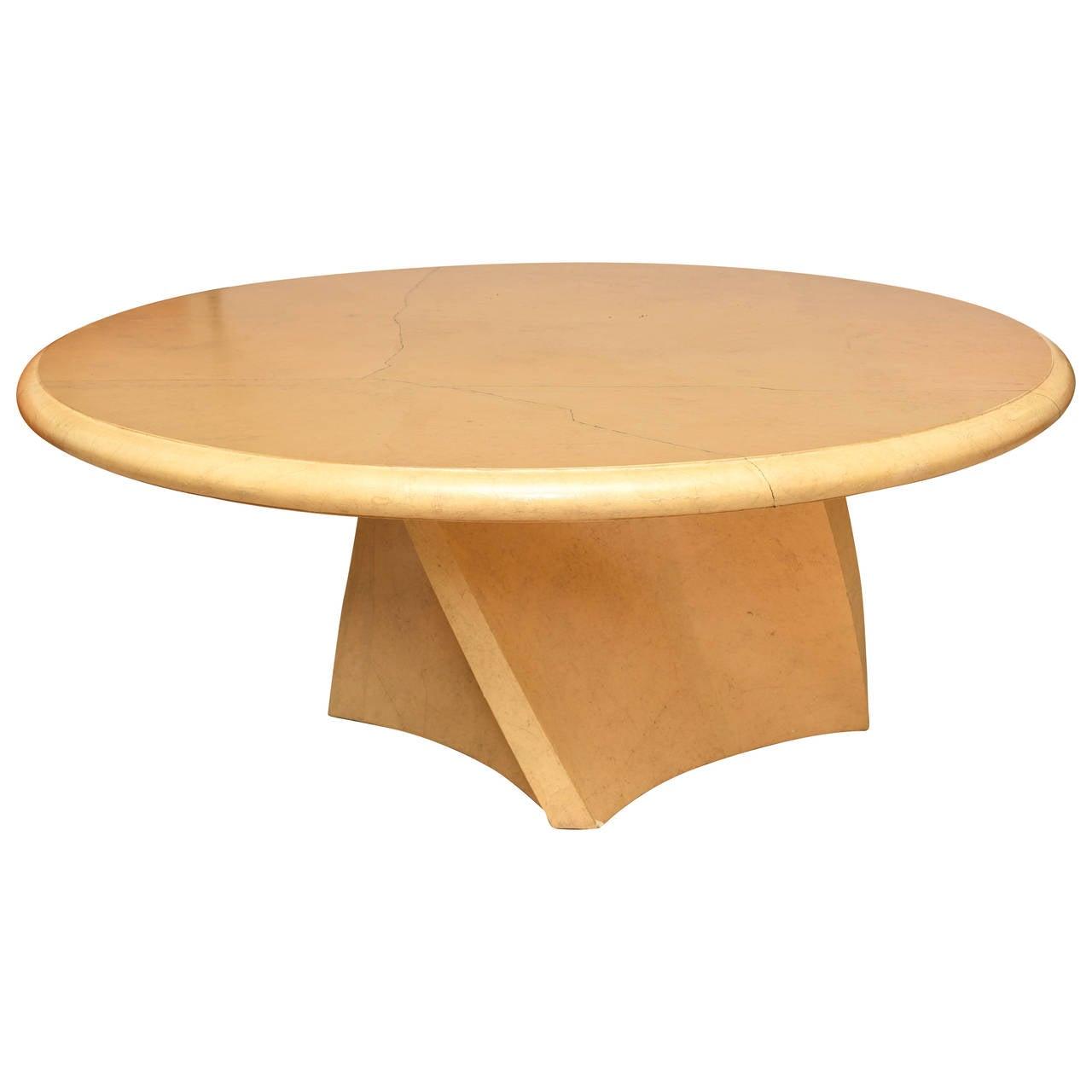 "Large American Modern Circular ""Goatskin"" Dining Table in Karl Springer Style"