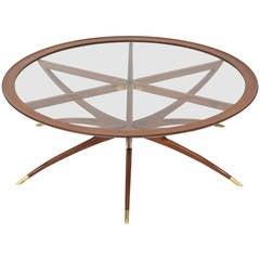 Italian Modern Mahogany, Brass and Glass Low Table, Carlo de Carli
