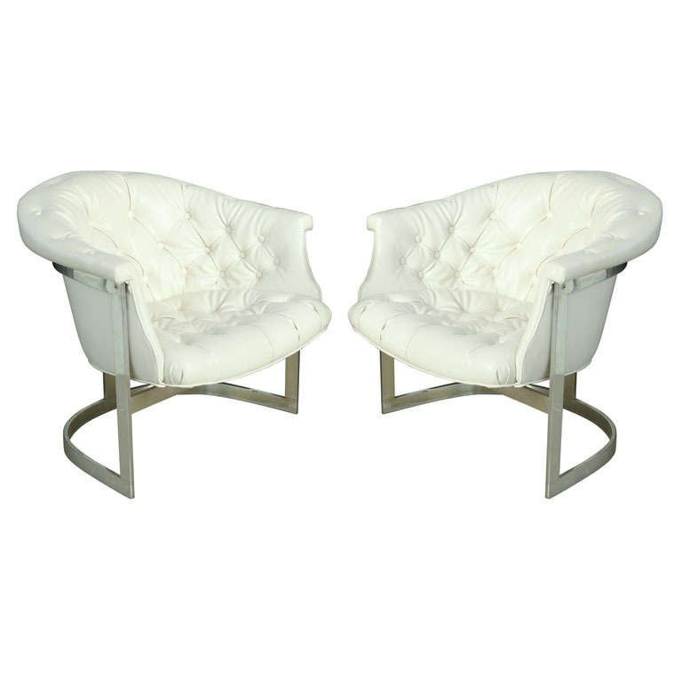 Superb Pair Milo Baughman Chrome And Tufted White Leather Tub Bralicious Painted Fabric Chair Ideas Braliciousco