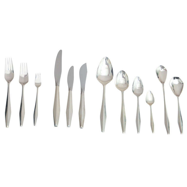 Giò Ponti Diamond sterling-silver flatware, 1950s, offered by Gary Rubinstein Antiques