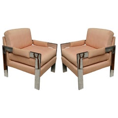 Pair of Milo Baughman Style Polished Chrome Armchairs for Directional