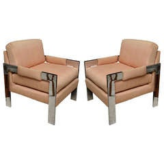 Pair of Milo Baughman Polished Chrome Armchairs for Directional