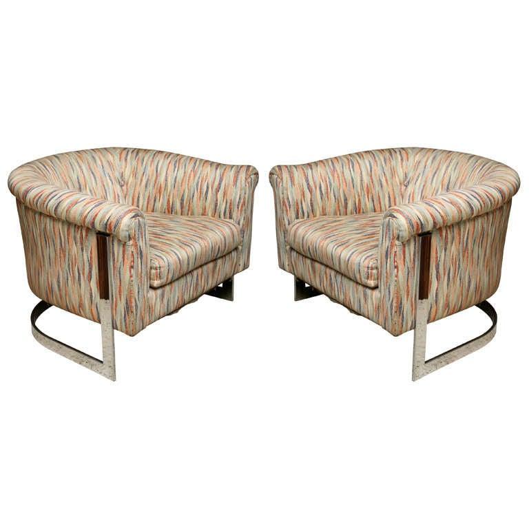 Pair of Milo Baughman Polished Chrome Club Chairs