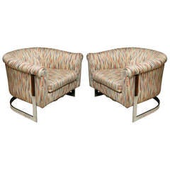 Pair of Milo Baughman Polished Chrome Club Chairs